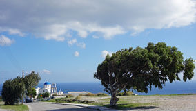 Chapel in small greece village pyrgos on santorini Royalty Free Stock Photo
