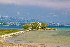 Chapel on small island in Posedarje Stock Photography