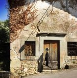 San Rocco Chapel. This chapel in the small rural village of Benabbio, Italy, is dedicated to San Rocco, a patron saint of illnesses. Seen with a large format royalty free stock image