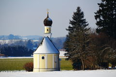 Countryside chapel in winter Royalty Free Stock Photography