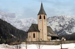 Chapel at snowy Dolomites Royalty Free Stock Photos