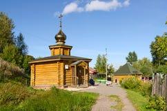 Chapel and the source of St. Reverend Ilya Muromets in Karacharo. KARACHAROVO, RUSSIA - AUGUST 23, 2015: Unknown pilgrims visit Chapel and the source of St Stock Photo