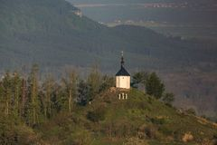 Chapel of St. Anne on Vysker hill in Bohemian Paradise. Aerial photography stock photography