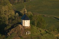 Chapel of St. Anne on Vysker hill in Bohemian Paradise. Aerial photography stock photos