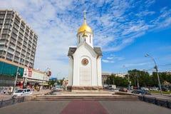 Chapel of St. Nicholas. NOVOSIBIRSK, RUSSIA - JULY 04, 2016: Chapel of St. Nicholas is the Orthodox chapel in Novosibirsk, located on the Red Avenue. The chapel stock images