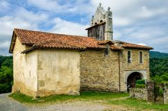 Chapel of St Nicholas in the tiny French hamlet Harambels. Royalty Free Stock Photography