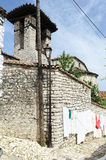 The chapel of St. Nicolas at Kala over Berat Royalty Free Stock Photos