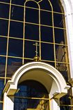 Chapel of St. Peter and Fevronia (fragment). Kaliningrad (until 1946 Koenigsberg), Russia. Chapel of St. Peter and Fevronia (fragment of the facade). Kaliningrad royalty free stock photography