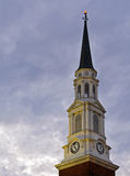 Chapel steeple at sunset. A sunset view of the steeple on the Memorial Chapel on the campus of the University of Maryland in College Park, Maryland Royalty Free Stock Photography