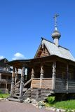 Chapel in the style of Russian wooden architecture. Stock Image