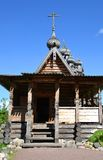 Chapel in the style of Russian wooden architecture. Royalty Free Stock Photos
