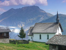 Chapel in the Swiss Alps royalty free stock photos