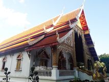 The chapel of Temple in Chiang Mai, Thailand. Travel, golden, buddha, building, art, sky stock photo