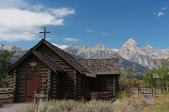 Chapel and Teton Mountain Range Royalty Free Stock Photos