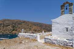 Chapel on top of a hill in Kythnos island, Cyclades, Greece. Chapel on top of a hill in Kythnos island, Cyclades Stock Photo