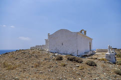 Chapel on top of a hill in Kythnos island, Cyclades, Greece Stock Images
