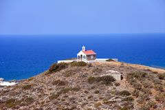 Chapel on top of the hill, Milatos. Stock Image