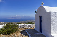 Chapel on top of a mountain in Iraklia island, Cyclades, Greece Stock Image
