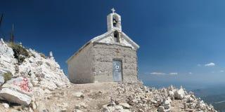 Chapel on the top of Sveti Jure. Highest mountain of Biokovo above Makarska riviera in Croatia Stock Image
