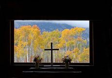 Chapel of the Transfiguration. Looking out on the autumn landscape from the Chapel of the Transfiguration, Grand Teton National Park, Wyoming Stock Photo