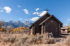 Chapel of the Transfiguration in Autumn. The historic chapel of the transfiguration in Teton National Park in fall Stock Photo