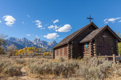 Chapel of the Transfiguration in Fall Stock Photography