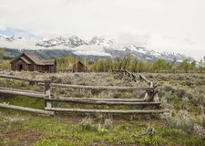 Chapel of Transfiguration in Grand Tetons National Park. Chapel of the Transfiguration in the fields of Grand Tetons National Park, surrounded by wood fence with Stock Photos