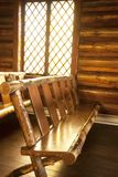 Chapel of Transfiguration in Grand Tetons National Park. Wooden worship bench or pew inside the Chapel of the Transfiguration in the fields of Grand Tetons Stock Photos