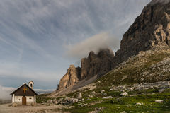 Chapel at tre cime di lavaredo in Dolomites Royalty Free Stock Images