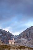 Chapel at Tre Cime di Lavaredo peaks in Dolomites Royalty Free Stock Photography