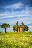 Chapel in Tuscany. Beautiful landscape with chapel in Tuscany, Italy Royalty Free Stock Photo