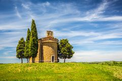 Chapel in Tuscany. Beautiful landscape with chapel in Tuscany, Italy Royalty Free Stock Images