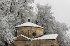A chapel under the snow Stock Image