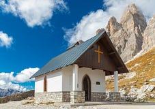 Chapel under Three Peaks stock photography