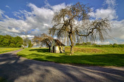 Chapel under tree. Chapel in the beautiful Czech countryside hiding under a tree Stock Photo