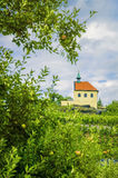 Chapel. View Of Small Chapel Through  Branches Of An Apple Tree Royalty Free Stock Image