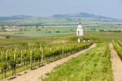 Chapel with vineyard, Czech Republic. Chapel with vineyard near Velke Bilovice, Czech Republic Stock Photo