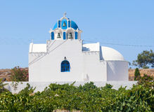 Chapel in the vineyard.Santorini island. Greece. Stock Photos