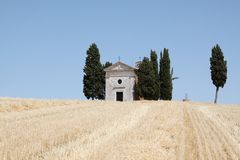 Chapel of Vitaleta in Tuscany Stock Images