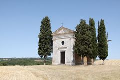 Chapel of Vitaleta in Tuscany Stock Photo