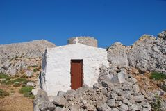 Chapel and windmill, Halki island Stock Image