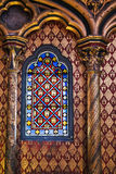 Chapel window. Beautiful interior of the Sainte-Chapelle (Holy Chapel), a royal medieval Gothic chapel in Paris, France, on April 10, 2014 Stock Image