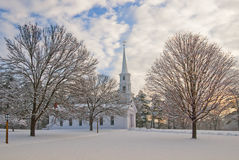 Chapel in winter. Chapel in a snowy New England shot at dawn Royalty Free Stock Photo