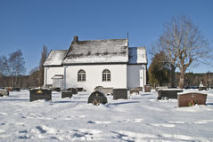 Chapel in winter. The burial Chapel is located on Idd church graveyard. The chapel was built in 1937 in stone Royalty Free Stock Photos