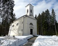 Chapel in winter Royalty Free Stock Photography
