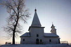 Chapel. The Chapel in the winter in the countryside in Russia Royalty Free Stock Images