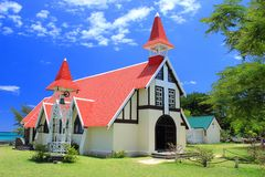 Chapel With Red Roof, Cap Malheureux, Mauritius Royalty Free Stock Photography
