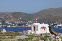 Chapel with wonderful view on Leros island, Greece Stock Image