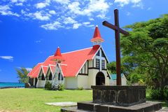 Chapel and wooden cross, Cap Malheureux, Mauritius Stock Image