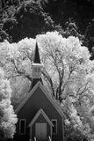 Chapel in the woods. Vertical infrared image of a chapel nestled among trees Stock Image
